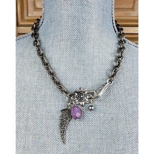 Artisan Vintage Angel Wing Silver Chain Necklace